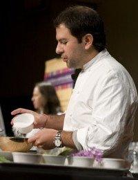 Enrique Olvera talks about the use of salt in Ensalada de Nopales con Helado de Jitomate during the Latin Flavors - American Kitchens