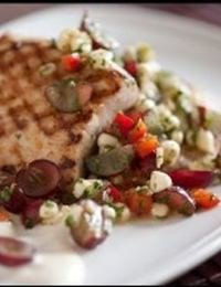 Grilled Mahi Mahi with Red Grapes and Corn Salsa
