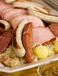 Sauerkraut with Smoked Pork, Sausage, Frankfurters, and Potatoes