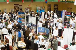 A career fair at The Culinary Institute of America's Hyde Park campus in 2007. The February 2012 fair will be one of the largest ever at the college, with more than 250 job recruiters.