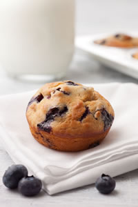 Whole wheat pastry flour and low-fat buttermilk are among the ingredients that make CIA's Blueberry Muffins healthier.