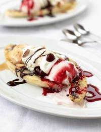 Grilled Banana Split with Homemade Ice Cream