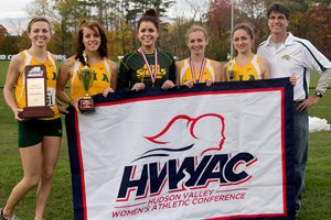 The CIA women's cross country team is the Hudson Valley Women's Athletic Conference champion for the third consecutive year. (Photo credit: HVWAC/Anthony Macapugay)
