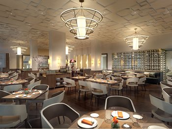 A rendering of the new Bocuse Restaurant was designed by Adam Tihany, and will open in the Winter of 2013. (Photo credit: Tihany Design)
