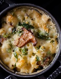 Macaroni & Cheese with Peas and Chanterelles, recipe by The Culinary Institute of America