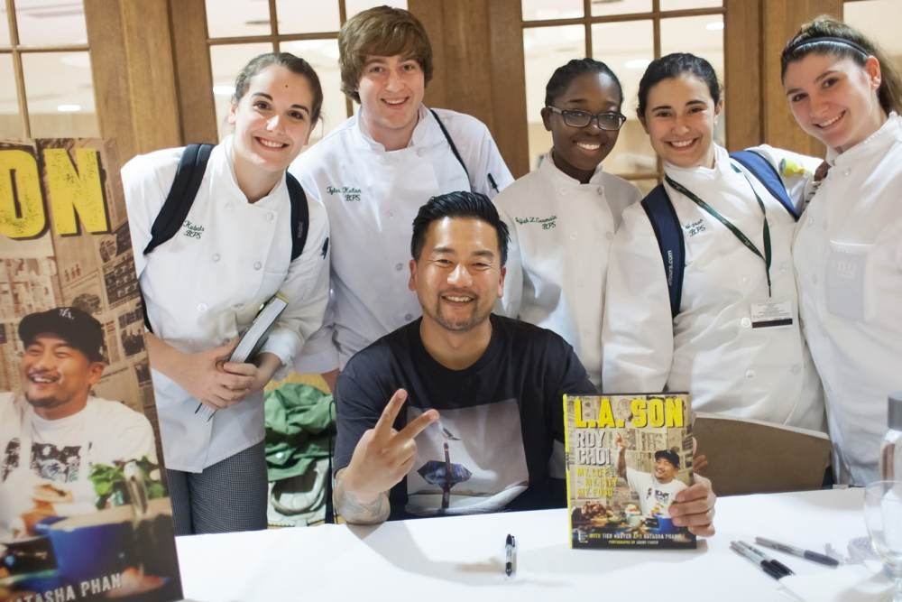 CIA Grad, restauranteur and cookbook author Roy Choi lecturing students in DKT.