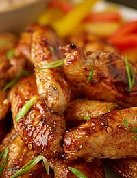 Orange-Chipotle Chicken Wings with Chipotle Sour Cream