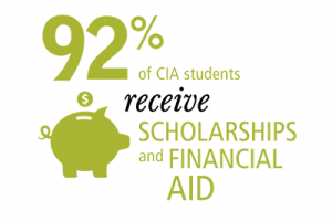 Graphic image of: over 90% of CIA students receive scholarships