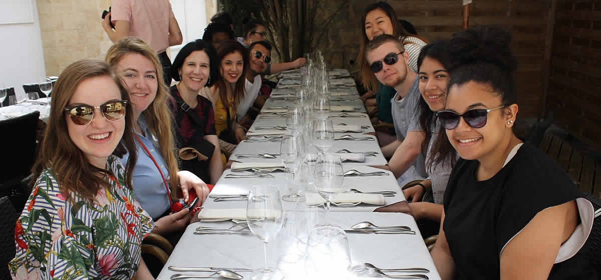 Photo of CIA students at a French restaurant