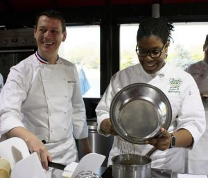 Image of French Chef Jérôme Chaucesse and CIA student