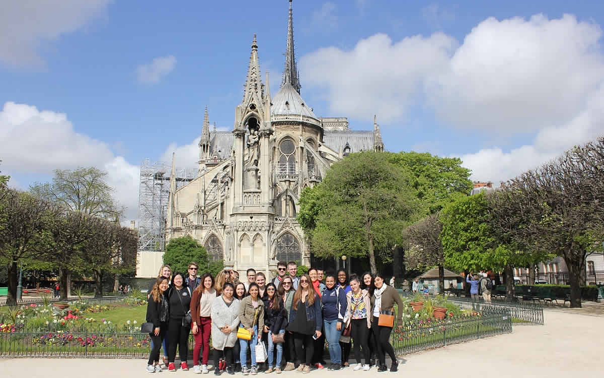 Image of CIA students in front of one of many of the cathedrals in France.