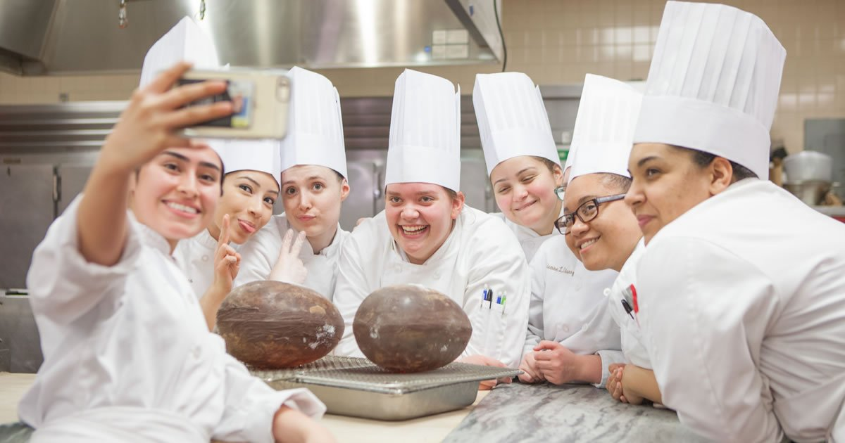 Photo of CIA baking and pastry students with candy geodes