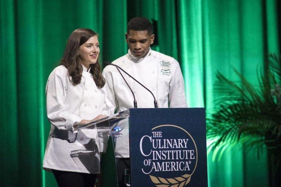 CIA students Jules Esposito and Brandon Medley hosting the CIA's Leadership Awards