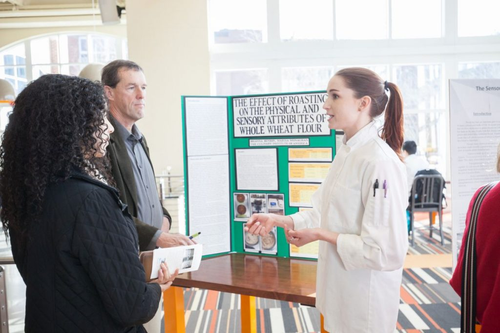Students in the Culinary Science program presenting their thesis at The Egg on The Culinary Institute of America's Hyde Park campus. Culinary Science student Brianna A. Benson.