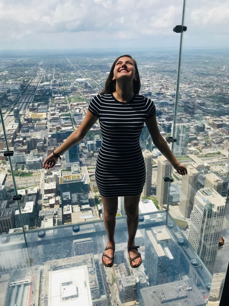 CIA Student Jules Esposito at the Skydeck at Willis Tower