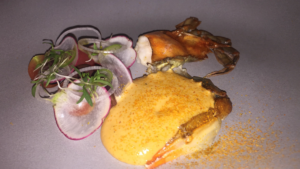 CIA students in the Latin American Cuisine Concentration try soft-shell crab with mango hollandaise and radish salad at Quintonil