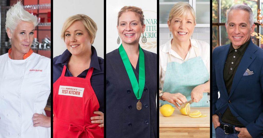 Famous Culinary Institute of America alumni, Anne Burrell, Julia Collin Davison, Amanda Freitag, Sara Moulton, Geoffrey Zakarian.
