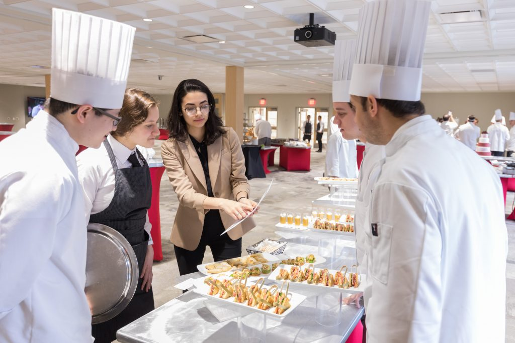 A graduation being catered by the school on The Culinary Institute of America's New York campus. Photographed for a Hospitality campaign